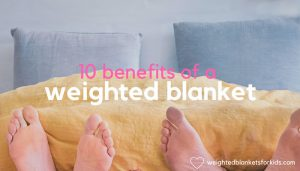 Feet under a blanket overlaid with text reading '10 Benefits of a Weighted Blanket'. Photo: Simon Matzinger on Unsplash.com.