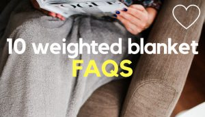 A person reading a magazine with a blanket over the legs, with overlaid text reading, '10 weighted blanket FAQS.' Photo: Jacek Dyleg on Unsplash.com.