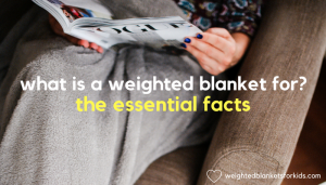 A woman with a blanket on her legs overlaid with the text 'What is a weighted blanket: The essential facts'. Photo: Jacek Dyleg on Unsplash.com.