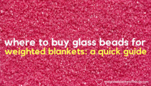 Pink beads overlaid with text 'where to buy glass beads for weighted blankets guide'.: Photo by Joanna Kosinska on Unsplash.