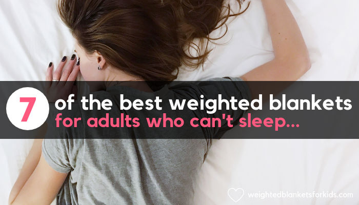 A woman lying face down in bed with text overload reading 'the best weighted blankets for adults who can't sleep'. Photo credit: Photo by Vladislav Muslakov on Unsplash.