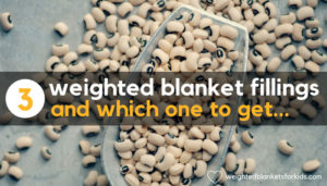 A photo of dried beans, overlaid with the text ''3 fillings for weighted blankets and which one to get. Photo: Photo by Jasmine Waheed on Unsplash.