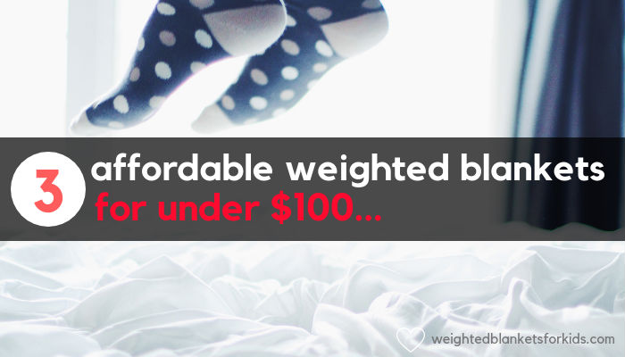 Two feet jumping on a blanket, overlaid with text '3 affordable weighted blankets for under $300. Photo credit: Unsplash.com.