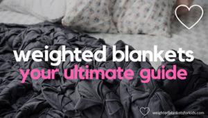 A blanket on a bed overlaid with text reading 'weighted blankets: your ultimate guide'. Photo: Tracey Hocking, via Unsplash.com.