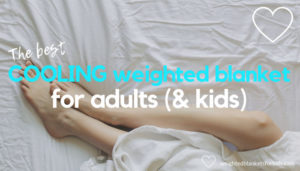 Legs exposed under a blanket, with overlaid text reading 'The best cooling weighted blanket for adults & kids.' Photo credit: Matthew Henry via https://burst.shopify.com.