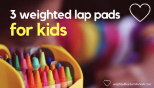 A child drawing overlaid with the text '2 weighted lap pads for kids'. Photo: Jelena Karakaš via Unsplash.