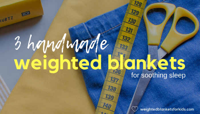 Material, tape measure & scissors, overlaid with text reading '3 handmade weighted blankets for soothing sleep'. Photo by Vanesa conunaese on Unsplash.