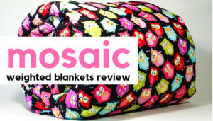 A Mosaic Weighted Blanket with owl design, overlaid with the text 'Mosaic Weighted Blankets Review'. Image: Mosaic Weighted Blankets.