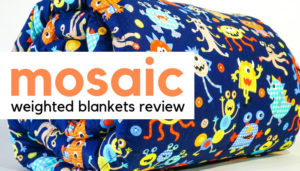 A Owls Themed Mosaic Weighted Blanket Overlaid With Text Reading Mosaic Weighted Blankets Review: Image Copyright: Mosaic Weighted Blankets.