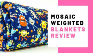 A Monsters Themed Mosaic Weighted Blanket Overlaid With Text Reading Mosaic Weighted Blankets Review: Image Copyright: Mosaic Weighted Blankets.