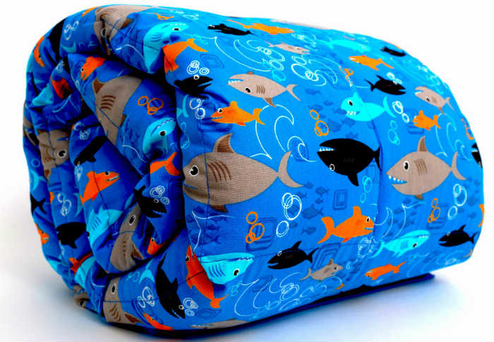 A Mosaic Weighted Blanket For Kids - Cotton Sharks Theme.