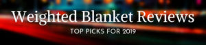 A banner reading 'weighted blanket reviews'.